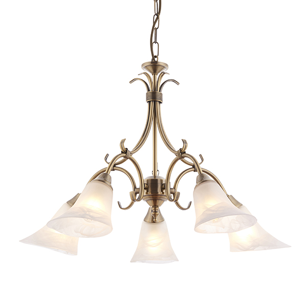 Endon Hardwick pendant 5x 40W Antique brass effect plate /& frosted glass